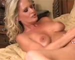 Blonde babe Barbie Addison dildo fucks Bridgett Lee