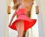 Cute Blonde Veronica on a Swing