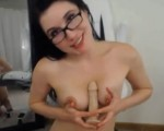 Cute Busty Babe In Glasses Rides Her Dildo