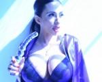 Ariella Ferrera Glass Dildo Blue Light